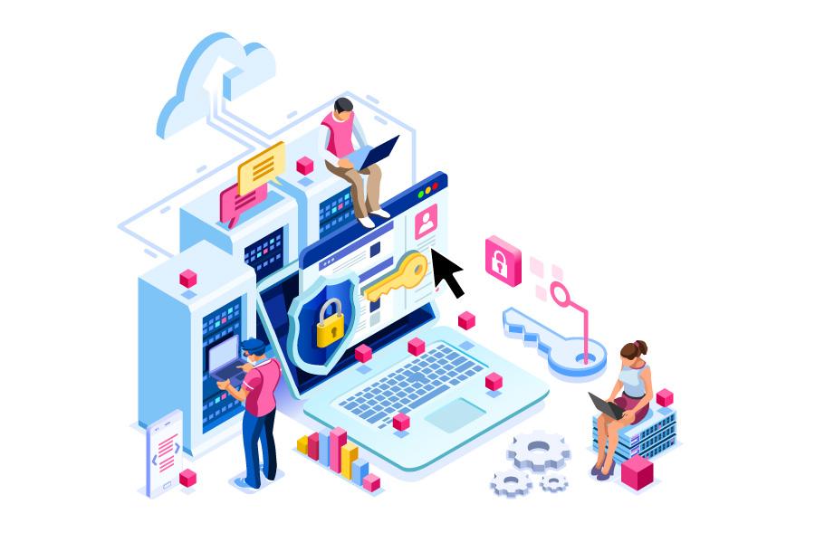 Laptop und Serverschränke, Frau sitz auf Stck von Switches, IT-Techniker arbeitet auf Server-Console,Schlüssel Symbol für Sicherheit