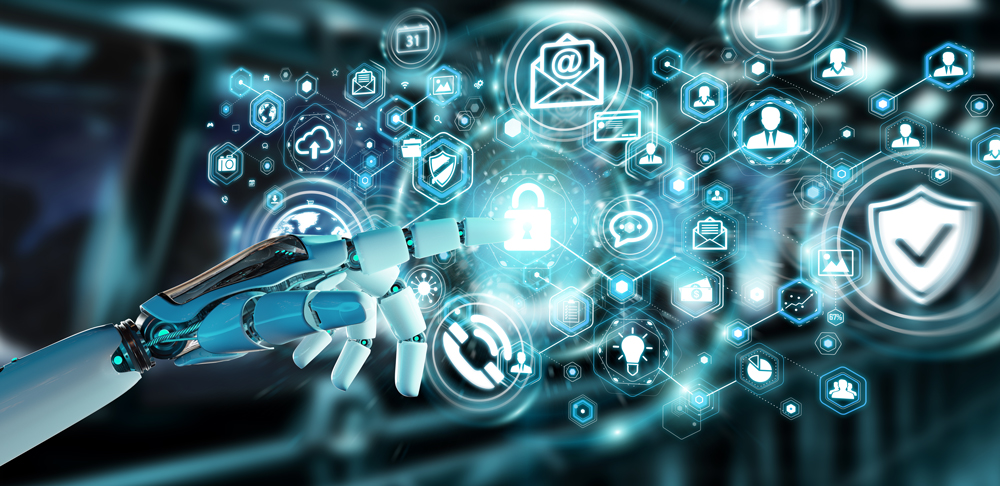 Cyber--und-Netzwerk-Security--robot-hand-blurred-cyber-security-data-interface-3D-rendering